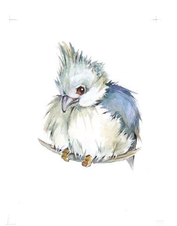 50% OFF Baby Titmouse  ORiGINAL mixed media painting 5x7 inch