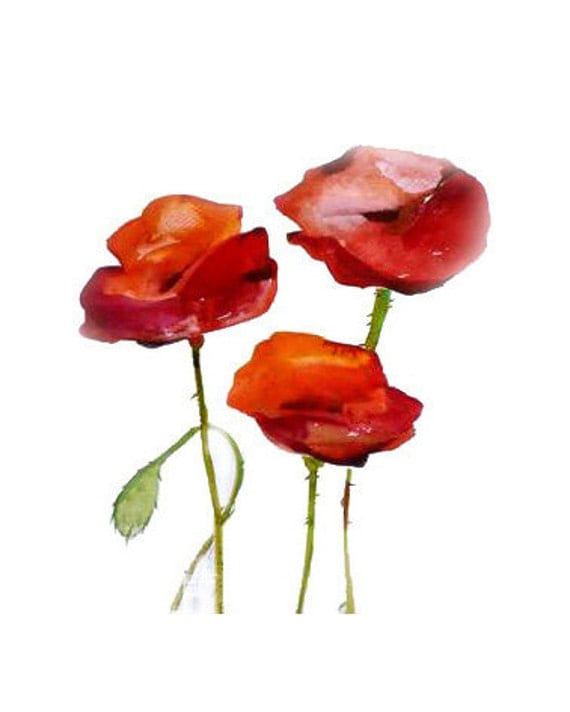 ORIGINAL FLORAL Painting  RED Poppy Flowers