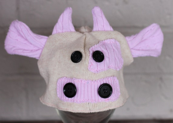 Cow hat newborn size upcycled sweater hat ready to ship