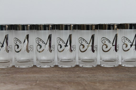 Set of 8 monogramed glass cups