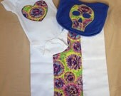 SALE - Tie-Dye and Skull Infant Bodysuit, Bib, and Burp Cloth Set - Ready Item