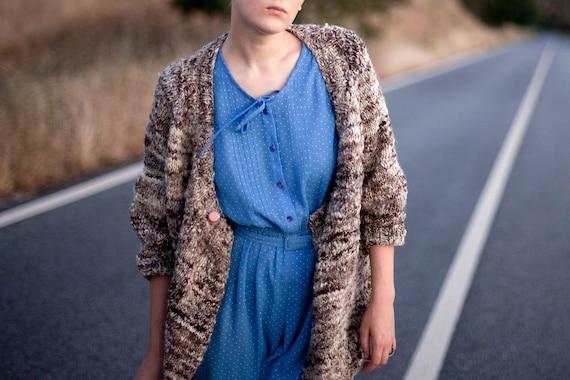 Cardigan - Handknitted Handspun Natural Wool Sweater