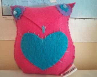 pink felt owl