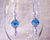 """Elegant """"Something Blue"""" AB Crystal Earrings with Silver Plated Stardust Beads"""