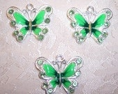 Assorted Colors 34 x 29mm Silver and Enamel Butterfly Pendants with Crystals - Set of TWO - Choice of Orange, Green, Pink, Purple or Blue
