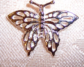 22mm x 27mm Silver Metal Butterfly Pendants - Set of Ten