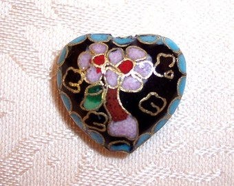Beautiful Black and Blue Cloisonne Heart Focal Bead 22mm x 10mm