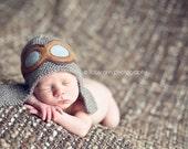 Newborn Photo Prop - Aviator Hat - Knit Baby Hat - Aviator Photo Prop