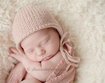 Baby Bonnet - Knit Baby Hat - Pink Baby Hat