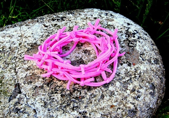CLEARANCE Swanky Shank PINK Dyed Recycled T-shirt Necklace (Long length) Can be tripled, doubled or worn as a bracelet