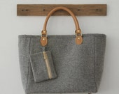 Felt Bag/  Laptop Bag/ Wool  bag/ Toto Bag/ Wool Felt/  Grey/ Purse/ Handbag