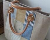 Linen Fabric Bag/ Handbag/ Woman Purses/ Wedding Bag/ Gift for her/ Pleated Stylish Bag