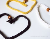 Hairband - 3 braids in cotton jersey mix white yellow black