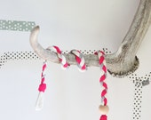 HEADBAND pink fuchsia white gray braided viscosa and cotton yarn, grey wood bead
