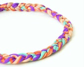 HEADBAND of braided elastan lycra yarn and wood bead as lock pastel colors