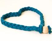 Headband Green petrol braided in elastic cotton yarn