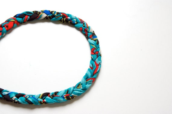 HEADBAND of braided elastan yarn and wood bead as lock, color mix red withe, sky blue, acqua blue
