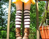 Above the knee very long knitted wool socks in coffee colors brown and white striped legwear