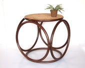 Vintage Bent Wood Mid Century Bamboo Stool Bench Side Table