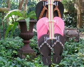Light Pink, Green, White and Pink Stripe Flip Flop Holder and Shoe Organizer