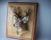 Vintage Art, Dad Wall Plaque, Picture, 3-D Design, Artist Signed, High Gloss, Antlered Deer, Lodge, Cabin, Camping