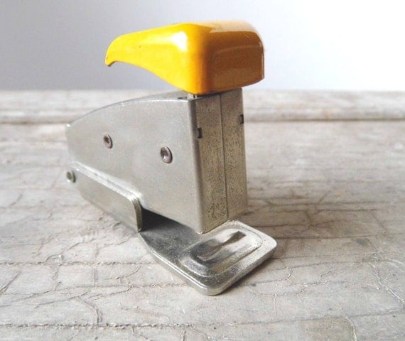 Vintage Stapler, Presto, Chrome with Yellow Top, Miniature for Home and Office Supplies, Industrial
