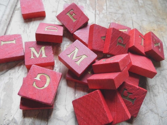 RESERVED J Vintage Red Wooden Tiles with Gold Letters, 6 pc., Small Game Pieces for Altered Art, Mixed Media, Fun Supplies