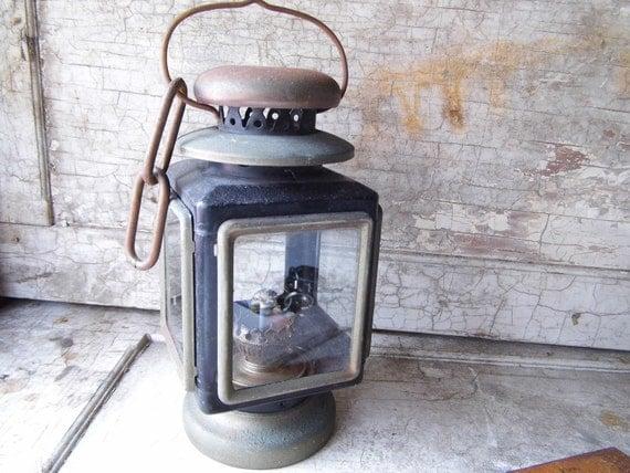 Vintage Kerosene Lantern, Light, Lamp with Glass Side Panels, Cottage Chic