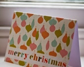 Retro Bauble Pattern Christmas Card