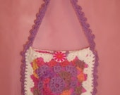 Crochet Purse-Granny Square Pink/Lavender/White with Lavender Scalloped Edge and Handle