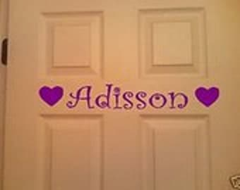 Personalized Wall or Door Decal Name Door Sign for Childrens Room