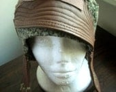 brown leather hat, green aviator hat, WINTER SALE, upcycled
