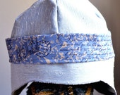 RESERVED FOR ANITA blue linen summer hat,  french postage trim, womens hats