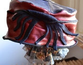 red leather hat upcycled WINTER SALE