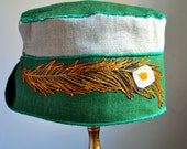 RESERVED FOR ANITA Handmade  feather summer hat, green summer hat