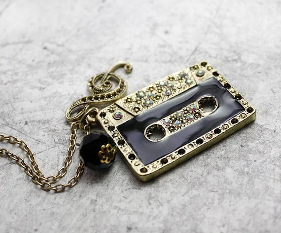 Necklace Love the 80's . casette tape pendant charm music note treble clef