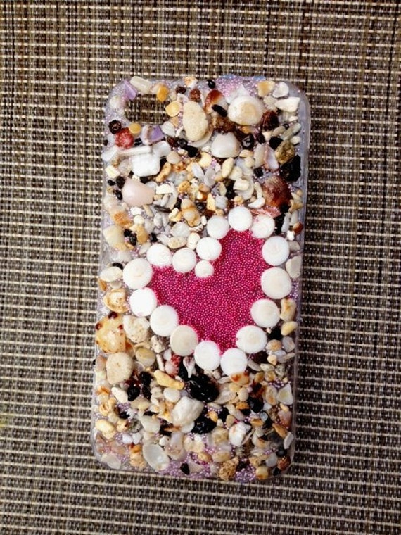 Iphone 4G 4S Case with shells, sand and beach glass