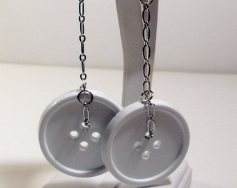 Big White Button & Silver Chain Dangly Earrings