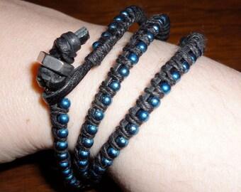 Black Leather Blue Ball Chain Wrap Bracelet