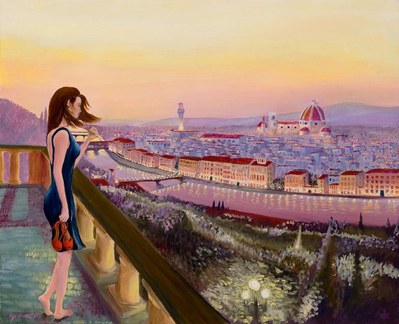 """Painting of a woman looking out over Florence, Italy at sunset 18""""x21"""" Print"""