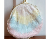 Pastel Beaded Clutch Purse with Metal Chain Strap