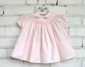Vintage Pink Zig Zag Hem Baby Dress, Size 9 - 12 months