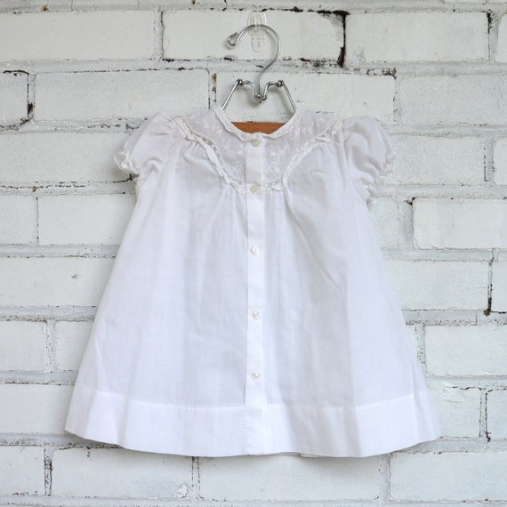 Vintage White Embroidered Baby Dress, Size 9 - 12 months