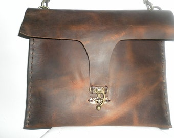 Leather bag/ I pad case  / handmade  and hand  stitched leather i pad bag  in NYC