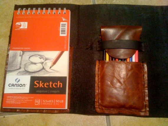 leather cover  . Unique Drawing  sketch book made in NYC