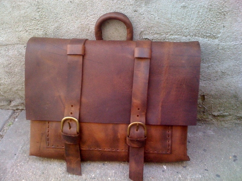 Hand Stitched Leather Messenger Bag Mens Messenger Bag