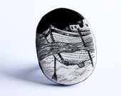 illustrated jewelry handmade black and white polymer clay ring