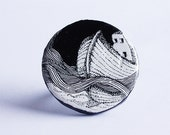 black and white ship illustrated ring - polymer clay ring