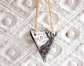 Triangle necklace - geometric jewelry - illustrated art