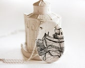 White ship pendant, polymer clay jewelry, black and white